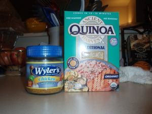Chicken flavored granules and quinoa